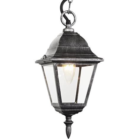Black/Silver Cast Aluminium IP44 Outdoor Hanging Lantern by Happy Homewares