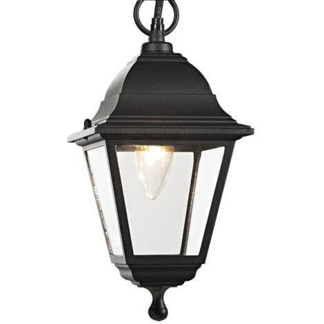 Matt Black Cast Aluminium IP44 Outdoor Hanging Lantern by Happy Homewares