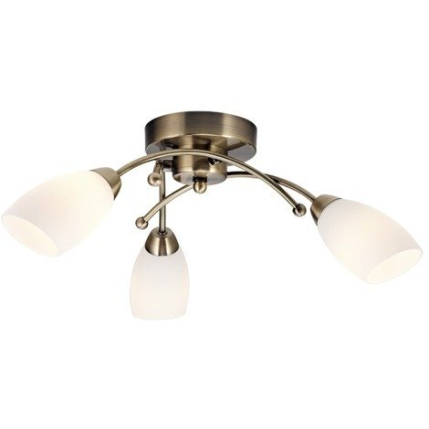 Contemporary 3 Arm Antique Brass Ceiling Light Fitting by Happy Homewares