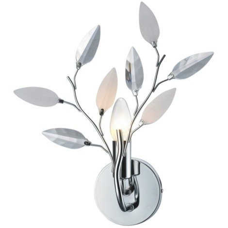 Modern Birch Chrome Wall Light Fixture with Clear and White Leaves by Happy Homewares