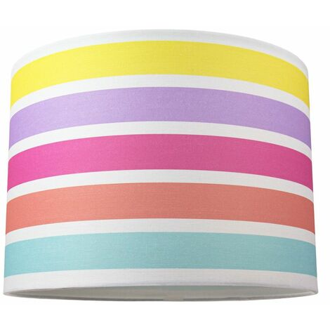 """Modern and Cute Multi Coloured Rainbow Stripe Cotton Fabric Lamp Shade - 10"""" by Happy Homewares"""
