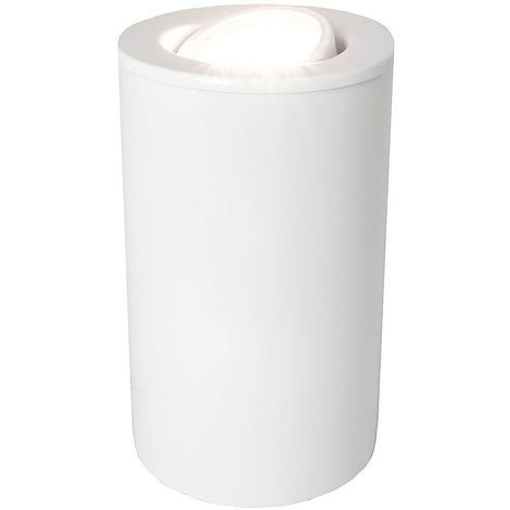 White Gloss GU10 Floor or Table Lamp Uplighter with Tilt Capability by Happy Homewares