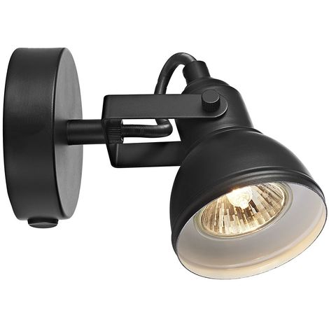 Unique Industrial Designed Matt Black Switched Wall Spot Light by Happy Homewares