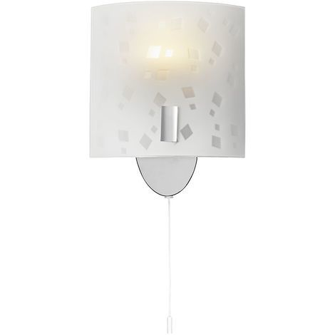 Contemporary Pull Switched Chrome Wall Light with Decorated Opal Glass Shade by Happy Homewares