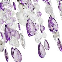 Contemporary Waterfall Pendant Shade with Purple and Clear Acrylic Droplets by Happy Homewares