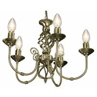 5 Light Antique Brass Classic Knot Twist Chandelier Ceiling Light Fitting by Happy Homewares