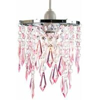 Modern Waterfall Design Pendant Shade with Clear/Pink Acrylic Drops and Beads by Happy Homewares