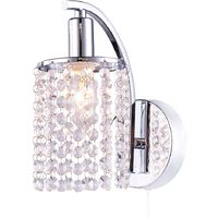Modern Pull Switched Chrome Plated Wall Light Fitting with Crystal Glass Beads by Happy Homewares