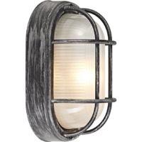 Black/Silver Cast Aluminium Outdoor Oval Bulkhead Wall Light by Happy Homewares