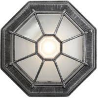 Traditional Hexagonal Black/Silver Flush Ceiling Porch Light by Happy Homewares