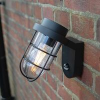Industrial Designer Matt Black Outdoor Sensor Controlled Wall Light Fitting by Happy Homewares