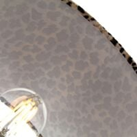 """Modern Chrome Plated Stick Table Lamp with 12"""" Velvet Leopard Print Lamp Shade by Happy Homewares"""