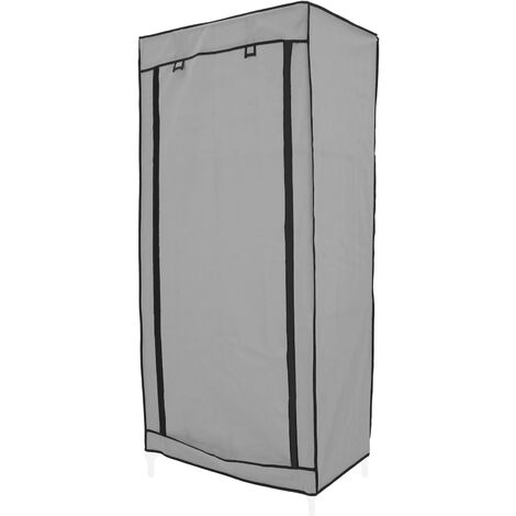PrimeMatik - Fabric wardrobe for clothes storage and organiser 70 x 45 x 155 cm gray with roll-up door