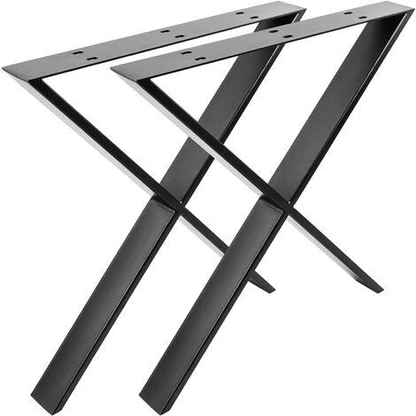 PrimeMatik - Table legs in 'X' for desks made of black steel 680 x 80 x 710 mm 2-pack