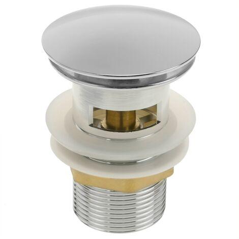PrimeMatik - Basin sink waste tap plug 9cm with overflow. Slotted bathroom push pop up sprung universal G1-1/4 chrome