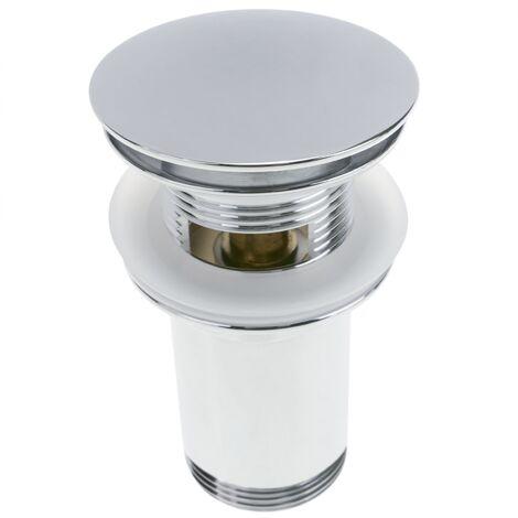 PrimeMatik - Basin sink waste tap plug 9cm. Slotted bathroom push pop up sprung universal G1-1/4 chrome rounded