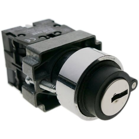BeMatik - Rotary selector switch 22mm 1NO 1NC 10A 400V 3-position normally open-close with key