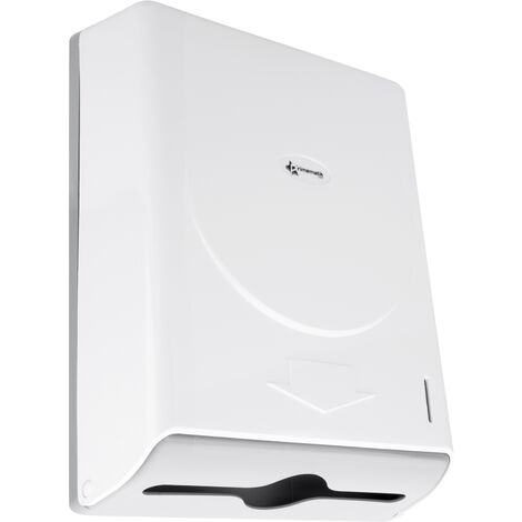 PrimeMatik - Paper hand towel dispenser compatible with C-fold and ZZ-fold in white color 274x103x373mm