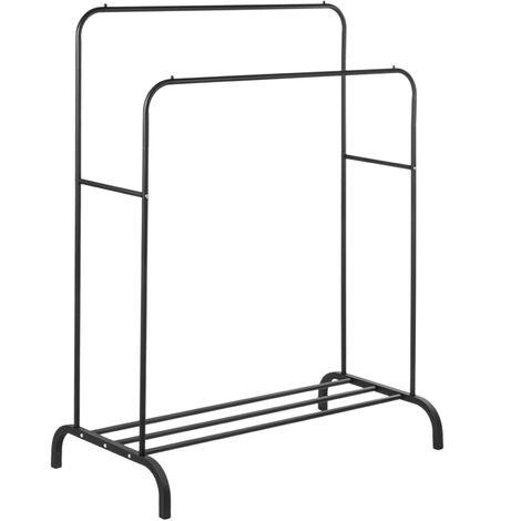 PrimeMatik - Multifunctional black metal coat rack with double hanger and low shelf