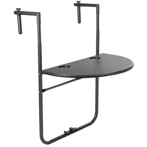 PrimeMatik - Semicircular adjustable table for balcony 60x39cm black