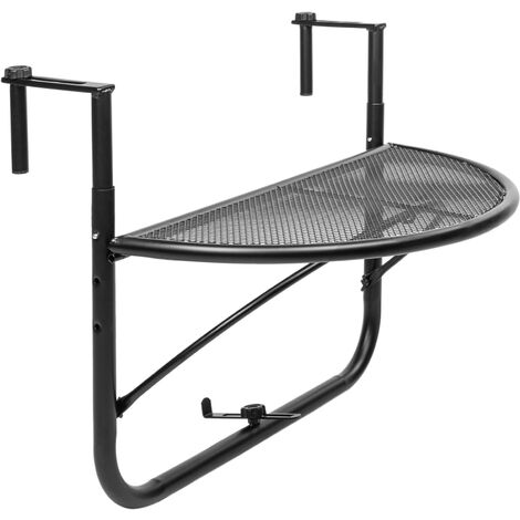 PrimeMatik - Semicircular folding table for balcony 60x30cm black