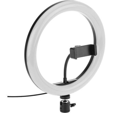BeMatik - Circular LED ring 26 cm 24 W 6500 K with mobile phone holder