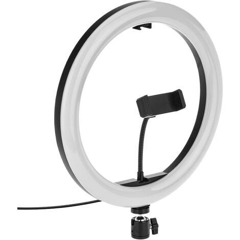 BeMatik - Circular LED ring 30 cm 32 W 6500 K with mobile phone holder