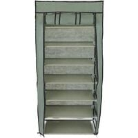PrimeMatik - Fabric wardrobe for clothes and shoes storage and organiser 60 x 30 x 128 cm gray with roll-up door