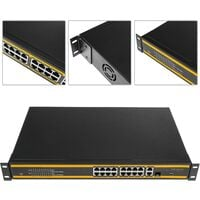 """BeMatik - Network PoE switch 10/100/1000 Mbps IEEE802.3af/at for 19"""" rack with 18 ports and 1 SFP"""