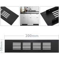 PrimeMatik - Ventilation grid for baseboard plate aluminum 200x50mm in black color