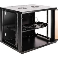 """RackMatic - Server rack cabinet 19"""" wallmount 9U black SOHOrack 540x450x448 mm with tray self 255 mm and fan ceiling"""