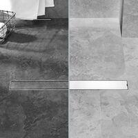 PrimeMatik - Shower drain linear channel 6.8x90cm stainless for tile insert matte