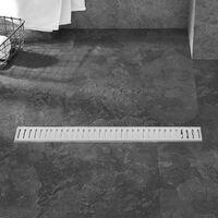 PrimeMatik - 7.5x60cm floor drain gutter with matte stainless steel grid