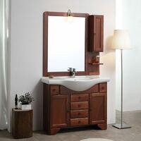 Meuble Salle De Bain 105 Cm Classique Avec Lavabo Et Miroir Easy