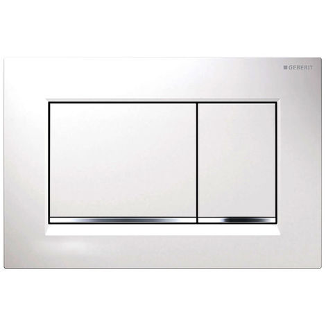 Plaque a' 2 boutons, Geberit Sigma30 blanc-chrome-blanc