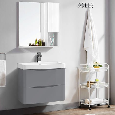 600mm Gloss Grey 2 Drawer Wall Hung Bathroom Cabinet Vanity Sink Unit with Basin