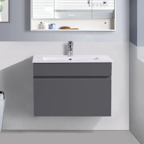 600mm Grey Wall Hung Vanity Sink Unit Ceramic Basin Bathroom Drawer Storage Furniture