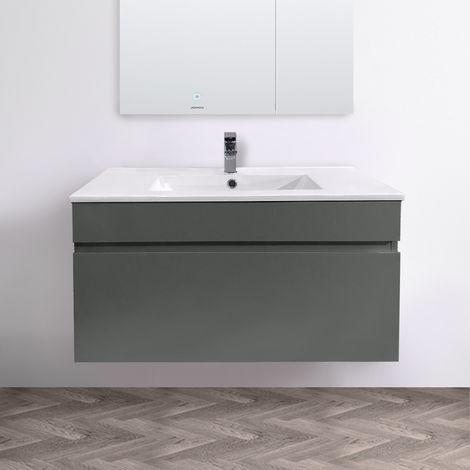 800mm Grey Wall Hung Vanity Sink Unit Ceramic Basin Bathroom Drawer Storage Furniture