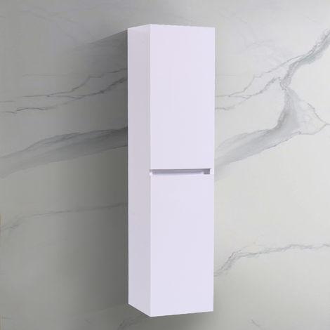 Wall Hung Bathroom High Cabinet Tall Cupboard 1400mm White Storage Furniture