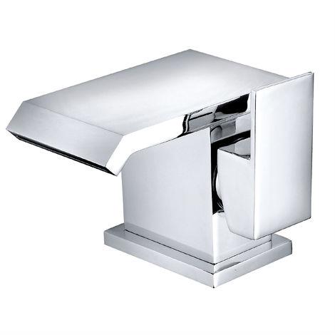 Square Basin Mixer Taps Bathroom Chrome Brass Single Sink Side Lever Facet