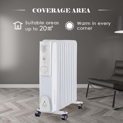 Electric Oil Filled Radiator 11 Fin 2500W Portable Heater Thermostat White