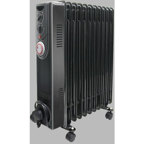 Oil Filled Radiator 2500W 11 Fin Portable Electric Heater with Timer Gloss Black