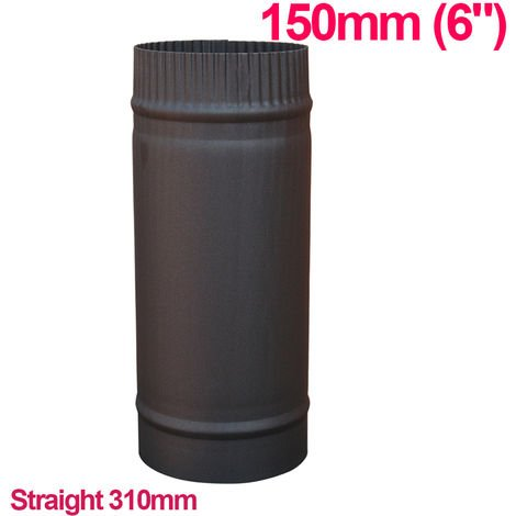 """Lincsfire 6"""" 310mm Straight Length of Flue Pipe Chimney for Wood Log Burning Multifuel Stove"""