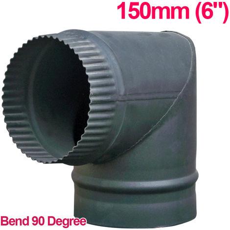"Lincsfire 6"" 90 Degree Bend Steel Flue Pipe Chimney for Wood Log Burning Multifuel Stove"