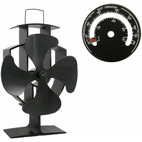 Lincsfire 4 Blades Eco Friendly Silent Heat Powered Stove Fan for Wood/Log Burner/Fireplace + Free Stove Thermometer