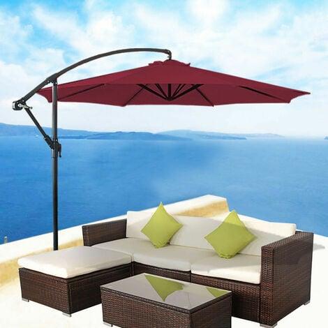 Greenbay 3m Garden Banana Parasol Patio Sun Shade Shelter Crank Hanging Rattan Cantilever Umbrella Wine