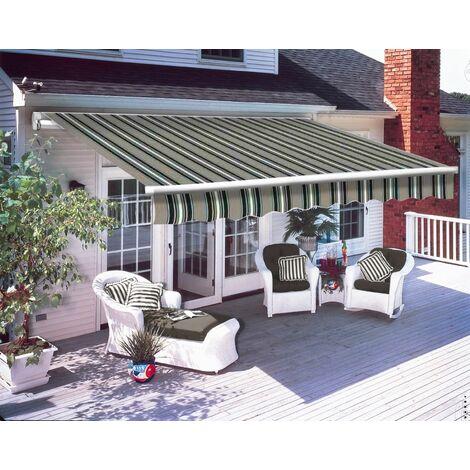 Greenbay 3 x 2.5m Manual Awning Garden Patio Canopy Sun Shade Shelter Retractable Multi-Stripe