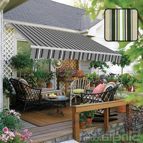 Greenbay 2 x 1.5m Manual Awning Garden Patio Canopy Sun Shade Shelter Retractable Multi-Stripe
