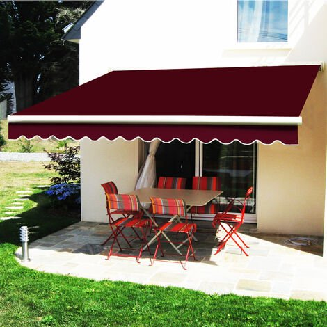 Greenbay 2.5 x 2m Manual Awning Garden Patio Canopy Sun Shade Shelter Retractable Wine Red