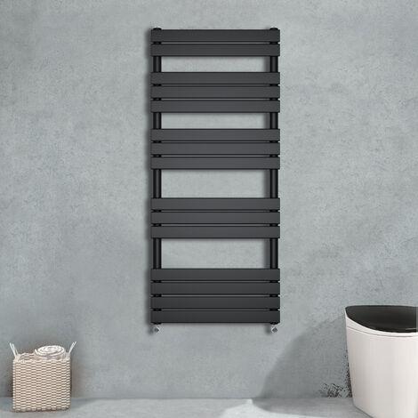 1600x600 Flat Panel Heated Towel Rail Bathroom Rad Radiator Black